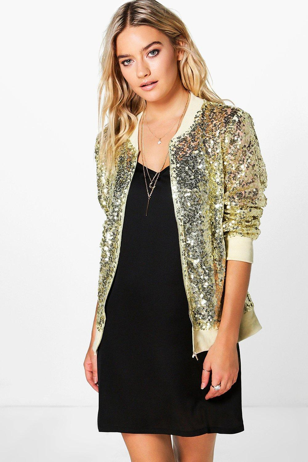 Sequin Mesh Bomber Jacket Gold - pattern: plain; collar: round collar/collarless; fit: slim fit; style: bomber; predominant colour: gold; occasions: casual; length: standard; fibres: polyester/polyamide - 100%; sleeve length: long sleeve; sleeve style: standard; texture group: sheer fabrics/chiffon/organza etc.; collar break: high; pattern type: fabric; embellishment: sequins; season: a/w 2016; wardrobe: highlight; embellishment location: all over