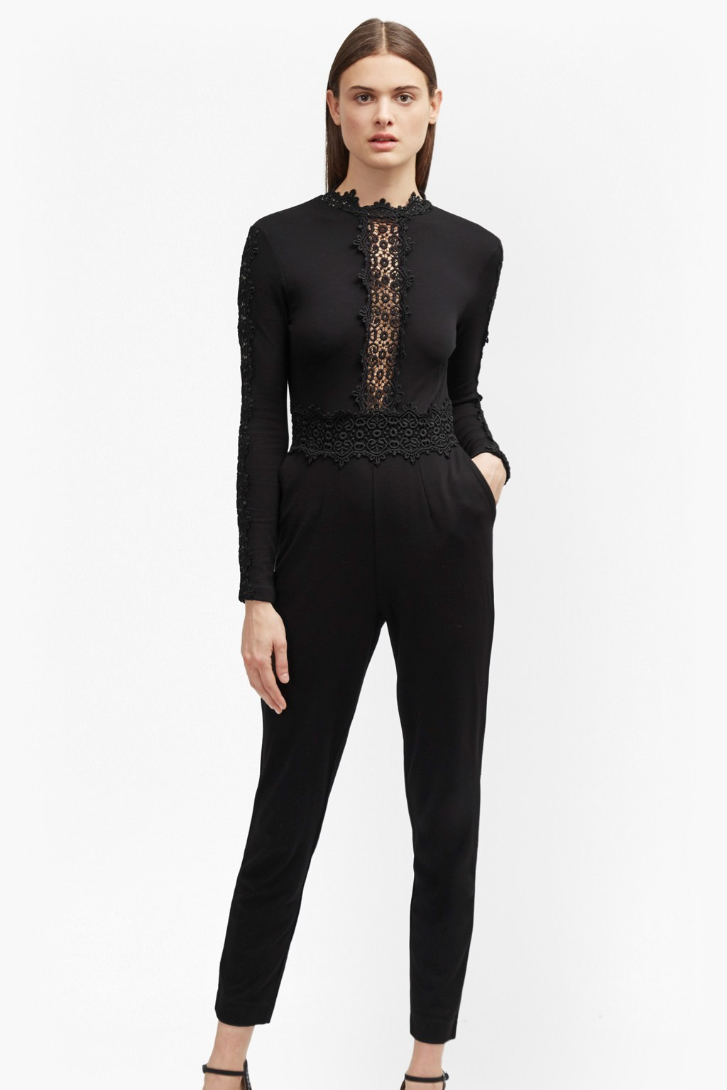 Petra Lace Beau Jumpsuit Black - pattern: plain; neckline: high neck; predominant colour: black; occasions: evening; length: standard; style: top; fibres: viscose/rayon - stretch; fit: tight; sleeve length: long sleeve; sleeve style: standard; texture group: jersey - clingy; pattern type: fabric; pattern size: standard; embellishment: lace; season: a/w 2016; wardrobe: event; embellishment location: bust