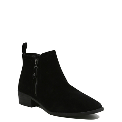 Faux Suede Ankle Boots Black - predominant colour: black; occasions: casual, work, creative work; heel height: flat; heel: block; toe: round toe; boot length: ankle boot; style: standard; finish: plain; pattern: plain; material: faux suede; wardrobe: basic; season: a/w 2016