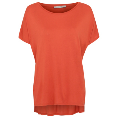 Slouch T Shirt Red - pattern: plain; style: t-shirt; predominant colour: bright orange; occasions: casual; length: standard; fibres: viscose/rayon - 100%; fit: body skimming; neckline: crew; sleeve length: short sleeve; sleeve style: standard; pattern type: fabric; texture group: jersey - stretchy/drapey; season: a/w 2016; wardrobe: highlight