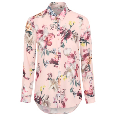 Floral Print Woven Blouse Pink - neckline: shirt collar/peter pan/zip with opening; style: shirt; predominant colour: blush; secondary colour: hot pink; occasions: casual, creative work; length: standard; fibres: polyester/polyamide - 100%; fit: body skimming; sleeve length: long sleeve; sleeve style: standard; pattern type: fabric; pattern: florals; texture group: woven light midweight; pattern size: big & busy (top); multicoloured: multicoloured; season: a/w 2016; wardrobe: highlight