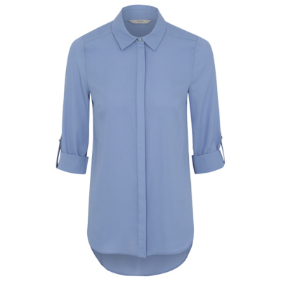 Roll Sleeve Woven Shirt Blue - neckline: shirt collar/peter pan/zip with opening; pattern: plain; style: shirt; predominant colour: denim; occasions: casual; length: standard; fibres: polyester/polyamide - 100%; fit: body skimming; sleeve length: 3/4 length; sleeve style: standard; texture group: crepes; pattern type: fabric; season: a/w 2016; wardrobe: highlight
