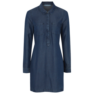 Belted Denim Dress Dark Denim - neckline: shirt collar/peter pan/zip with opening; pattern: plain; length: below the bottom; style: tunic; predominant colour: navy; occasions: casual; fibres: viscose/rayon - 100%; fit: body skimming; sleeve length: long sleeve; sleeve style: standard; texture group: denim; pattern type: fabric; wardrobe: basic; season: a/w 2016