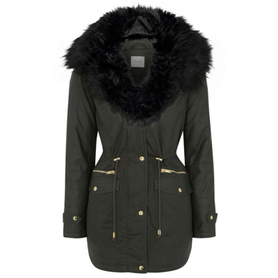 Faux Fur Trim Shower Resistant Parka Khaki - pattern: plain; length: below the bottom; fit: loose; style: parka; hip detail: draws attention to hips; predominant colour: khaki; secondary colour: black; occasions: casual; fibres: cotton - 100%; waist detail: belted waist/tie at waist/drawstring; sleeve length: long sleeve; sleeve style: standard; texture group: technical outdoor fabrics; collar: fur; collar break: medium; pattern type: fabric; multicoloured: multicoloured; season: a/w 2016; wardrobe: highlight; embellishment location: bust