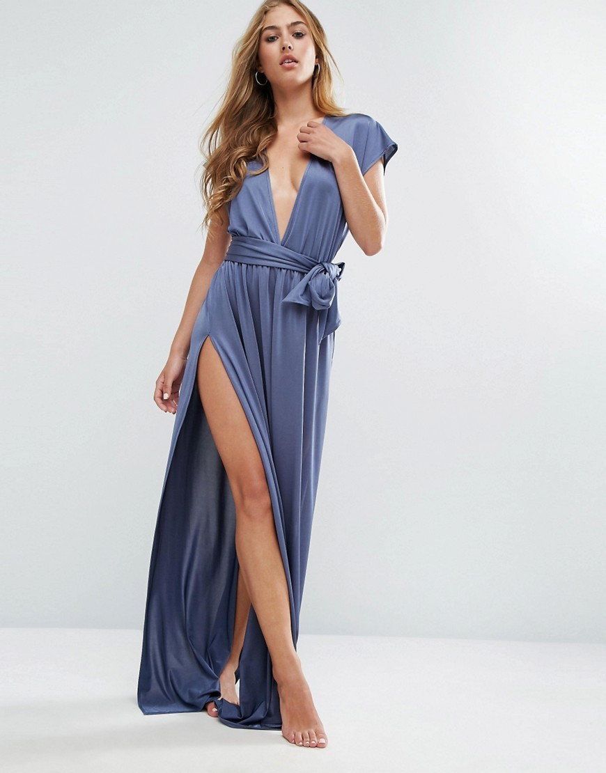 Slinky Deep Plunge Belted Maxi Beach Dress Petrol Blue - neckline: plunge; style: maxi dress; waist detail: belted waist/tie at waist/drawstring; predominant colour: denim; occasions: evening; length: floor length; fit: body skimming; fibres: polyester/polyamide - stretch; hip detail: slits at hip; sleeve length: short sleeve; sleeve style: standard; pattern type: fabric; pattern: patterned/print; texture group: jersey - stretchy/drapey; season: a/w 2016; wardrobe: event