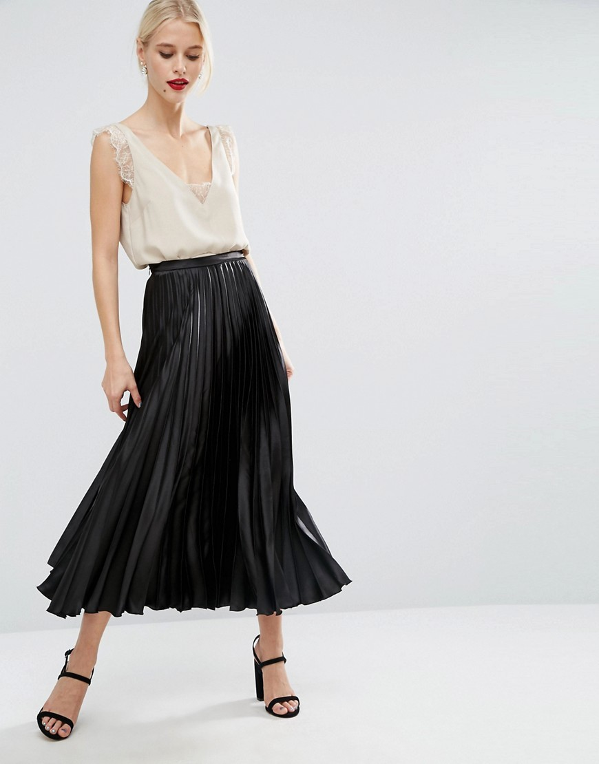 Midi Skirt In Pleated Satin Black - pattern: plain; length: ankle length; fit: loose/voluminous; style: pleated; waist: high rise; predominant colour: black; occasions: evening, occasion; fibres: polyester/polyamide - 100%; hip detail: structured pleats at hip; waist detail: narrow waistband; texture group: silky - light; pattern type: fabric; season: a/w 2016