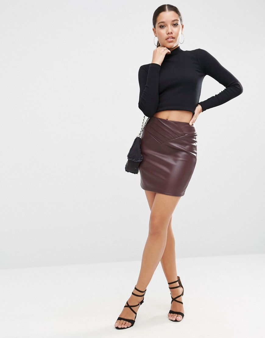 Leather Look Mini Skirt With 80's Waist Oxblood - length: mini; pattern: plain; fit: tight; waist: high rise; hip detail: fitted at hip; predominant colour: burgundy; occasions: evening; style: mini skirt; fibres: polyester/polyamide - 100%; texture group: leather; pattern type: fabric; season: a/w 2016; wardrobe: event