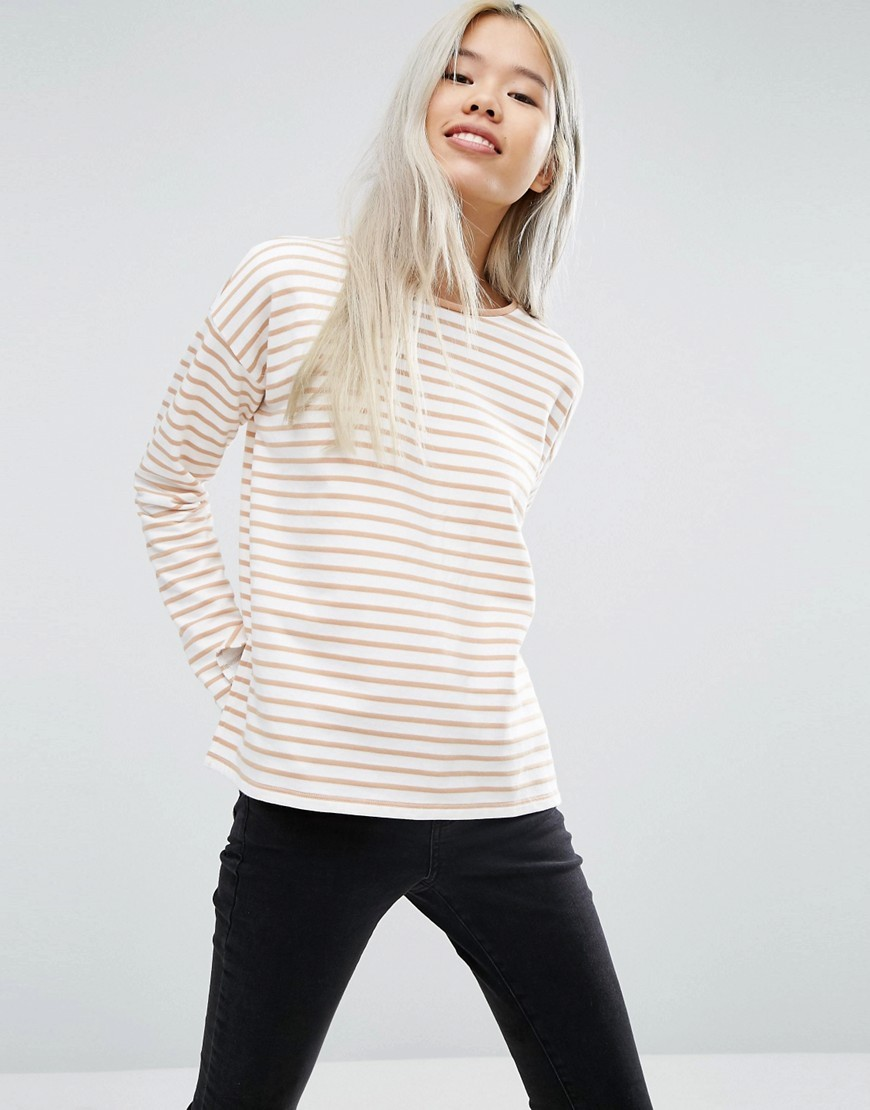 Top With Long Sleeve In Baby Loopback Stripe Cream/Camel - neckline: round neck; pattern: striped; style: sweat top; predominant colour: ivory/cream; occasions: casual, creative work; length: standard; fibres: cotton - mix; fit: straight cut; sleeve length: long sleeve; sleeve style: standard; pattern type: fabric; pattern size: standard; texture group: jersey - stretchy/drapey; season: a/w 2016; wardrobe: highlight