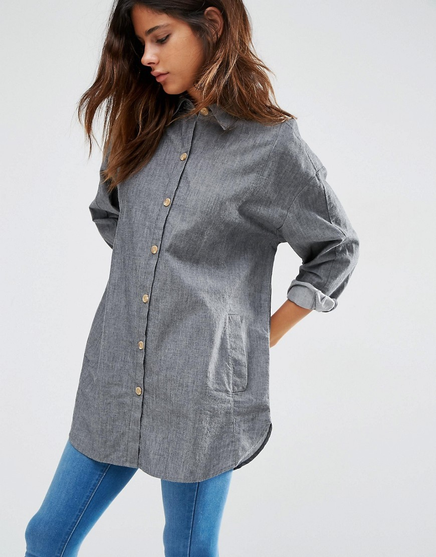 Soft Twill Oversized Shirt Grey - neckline: shirt collar/peter pan/zip with opening; pattern: plain; style: shirt; predominant colour: mid grey; occasions: casual, creative work; fibres: cotton - 100%; fit: loose; length: mid thigh; sleeve length: long sleeve; sleeve style: standard; texture group: cotton feel fabrics; pattern type: fabric; wardrobe: basic; season: a/w 2016