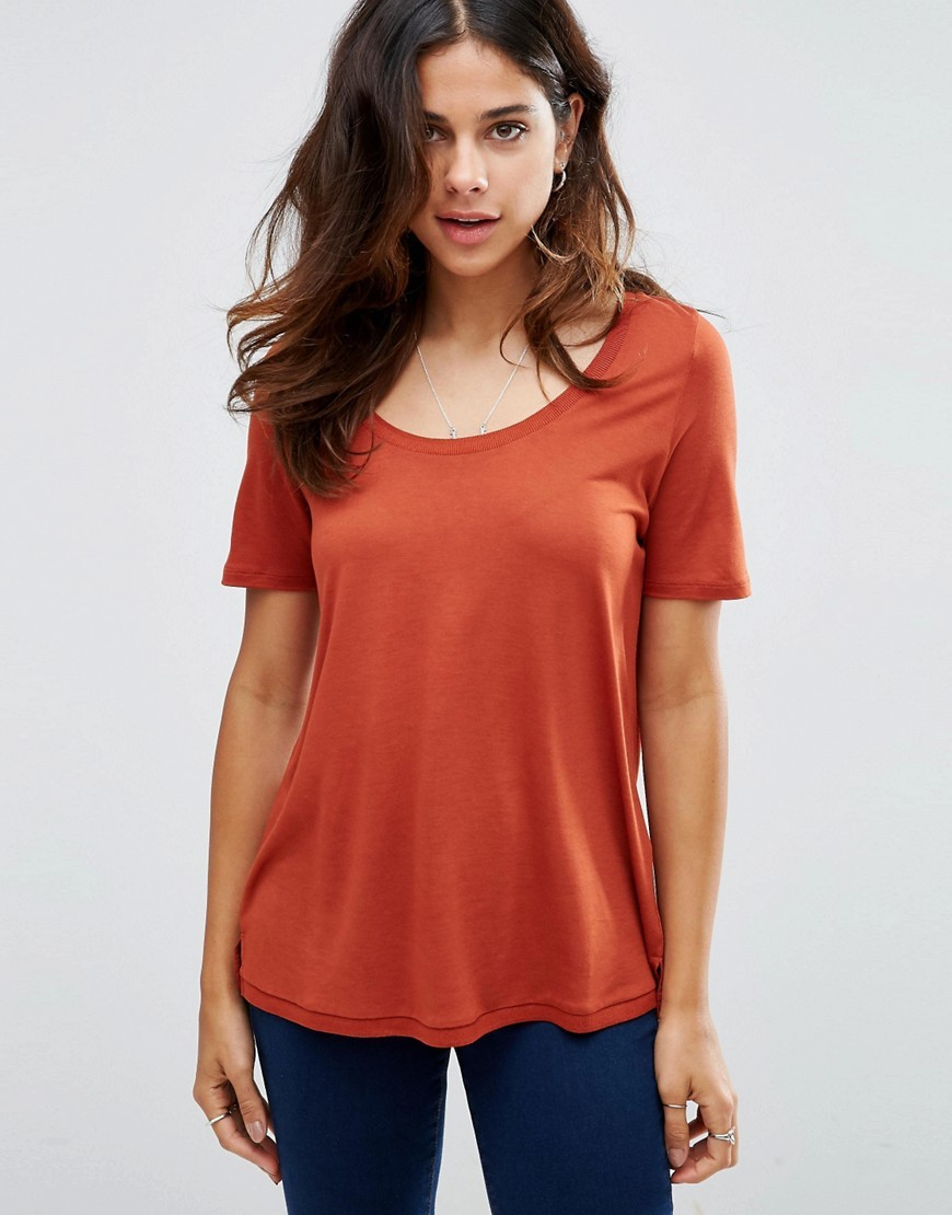Knitted U Neck T Shirt Rust Orange - neckline: round neck; pattern: plain; length: below the bottom; style: t-shirt; predominant colour: bright orange; occasions: casual, creative work; fibres: viscose/rayon - 100%; fit: body skimming; sleeve length: short sleeve; sleeve style: standard; pattern type: fabric; texture group: jersey - stretchy/drapey; season: a/w 2016; wardrobe: highlight