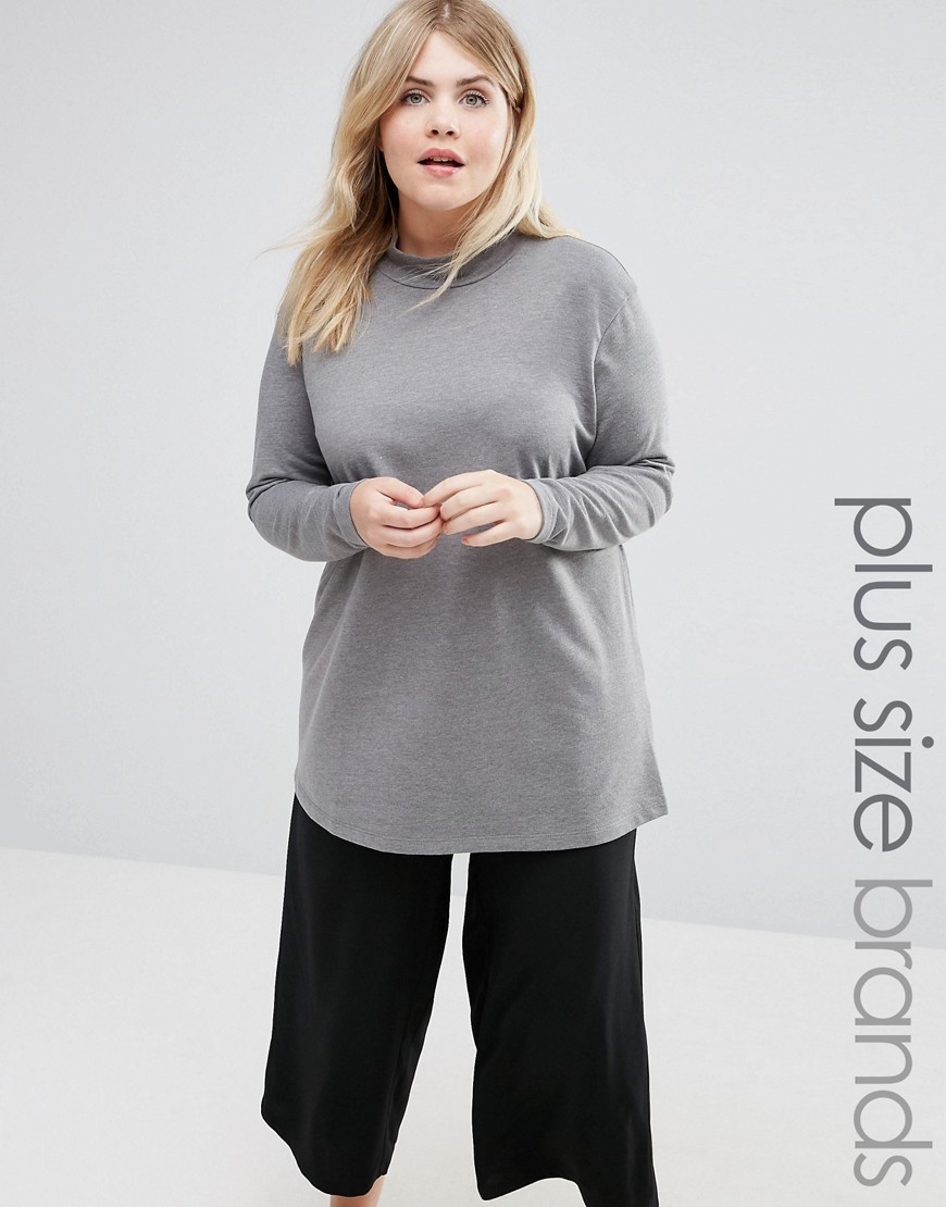 Funnel Neck Jersey Top Grey - neckline: round neck; pattern: plain; length: below the bottom; predominant colour: mid grey; occasions: casual, creative work; style: top; fibres: polyester/polyamide - mix; fit: loose; sleeve length: long sleeve; sleeve style: standard; pattern type: fabric; texture group: jersey - stretchy/drapey; wardrobe: basic; season: a/w 2016