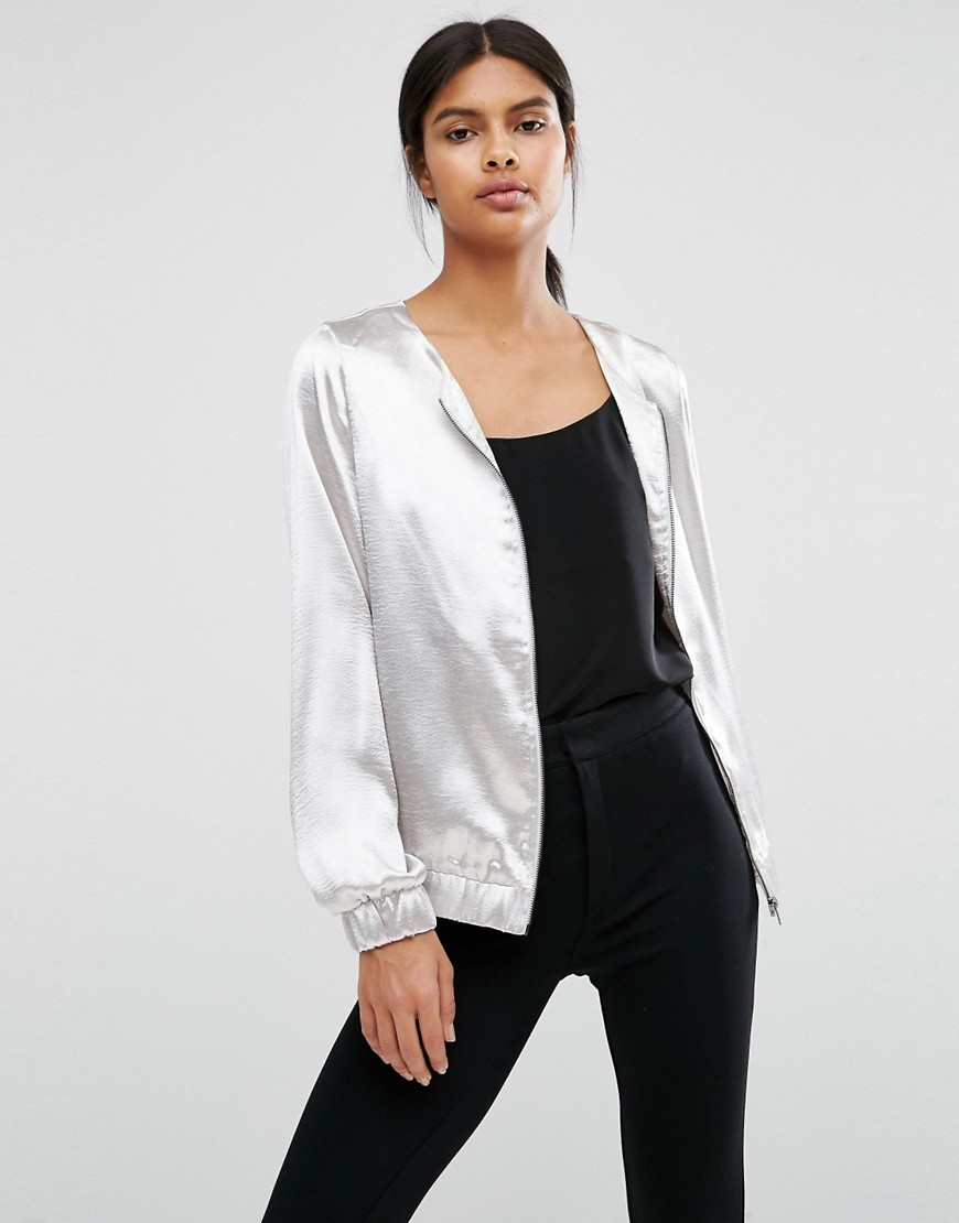 Metallic Satin Bomber Silver - pattern: plain; collar: round collar/collarless; style: bomber; predominant colour: silver; occasions: casual, creative work; length: standard; fit: straight cut (boxy); fibres: polyester/polyamide - 100%; sleeve length: long sleeve; sleeve style: standard; collar break: high; pattern type: fabric; texture group: other - light to midweight; season: a/w 2016