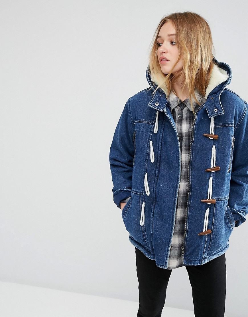 Denim Duffle Coat With Borg Blue - pattern: plain; length: below the bottom; collar: funnel; style: single breasted; back detail: hood; predominant colour: denim; occasions: casual; fit: straight cut (boxy); fibres: cotton - 100%; sleeve length: long sleeve; sleeve style: standard; texture group: denim; collar break: high; pattern type: fabric; season: a/w 2016