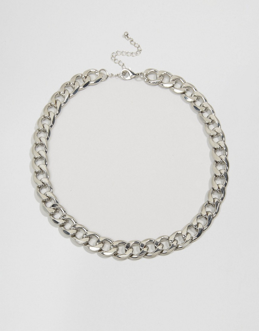 Sleek Curb Chain Necklace Rhodium - predominant colour: silver; occasions: evening, work, creative work; length: short; size: standard; material: chain/metal; finish: metallic; style: chain (no pendant); season: a/w 2016