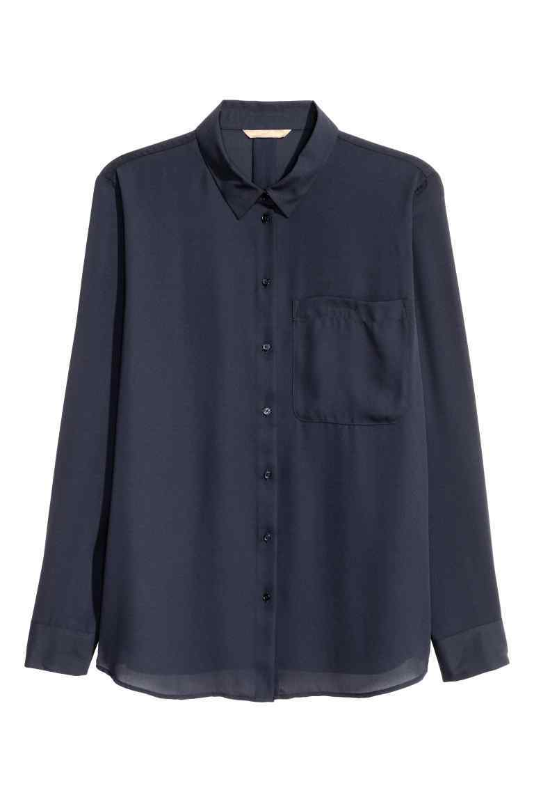 + Crêpe Blouse - neckline: shirt collar/peter pan/zip with opening; pattern: plain; style: shirt; predominant colour: navy; occasions: casual, creative work; length: standard; fibres: polyester/polyamide - 100%; fit: body skimming; sleeve length: long sleeve; sleeve style: standard; texture group: crepes; pattern type: fabric; wardrobe: basic; season: a/w 2016
