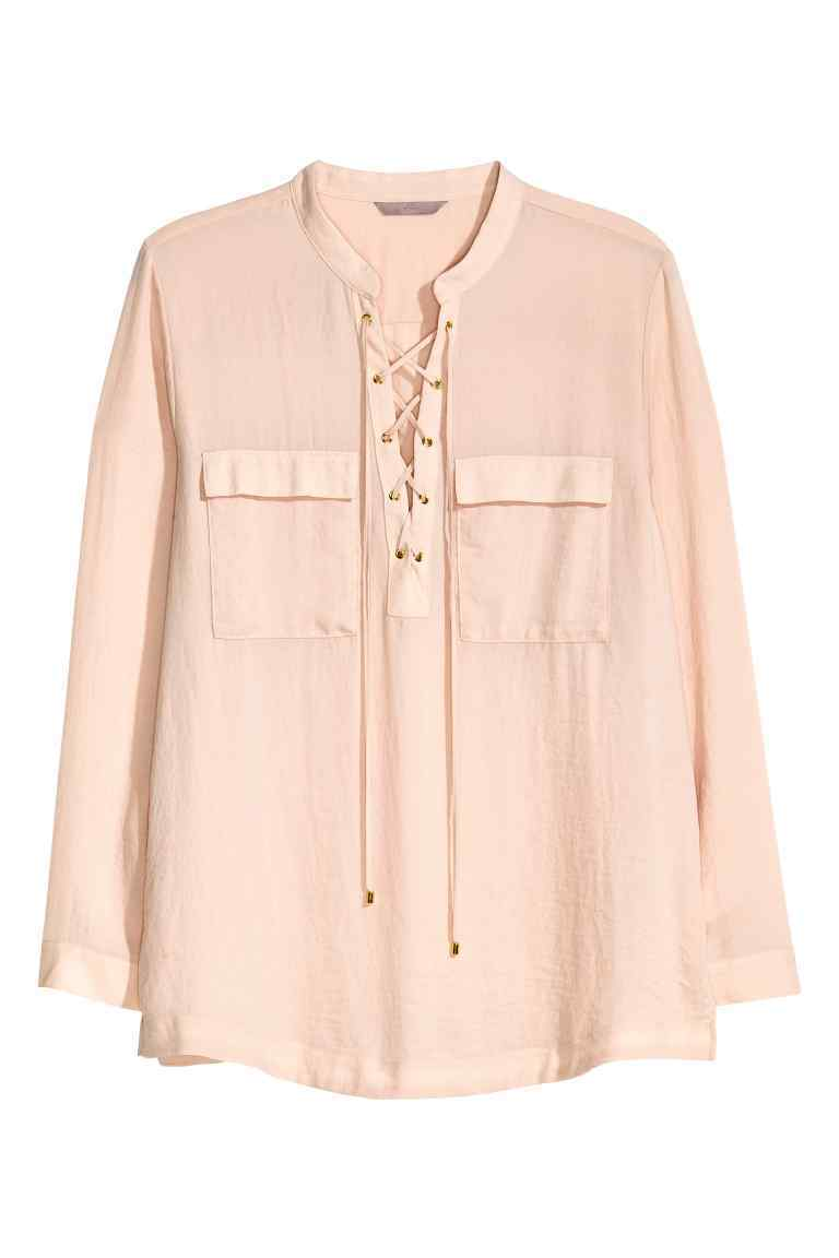 + Laced Chiffon Blouse - pattern: plain; style: blouse; predominant colour: blush; occasions: casual; length: standard; neckline: collarstand & mandarin with v-neck; fibres: polyester/polyamide - 100%; fit: body skimming; sleeve length: long sleeve; sleeve style: standard; texture group: sheer fabrics/chiffon/organza etc.; pattern type: fabric; wardrobe: basic; season: a/w 2016