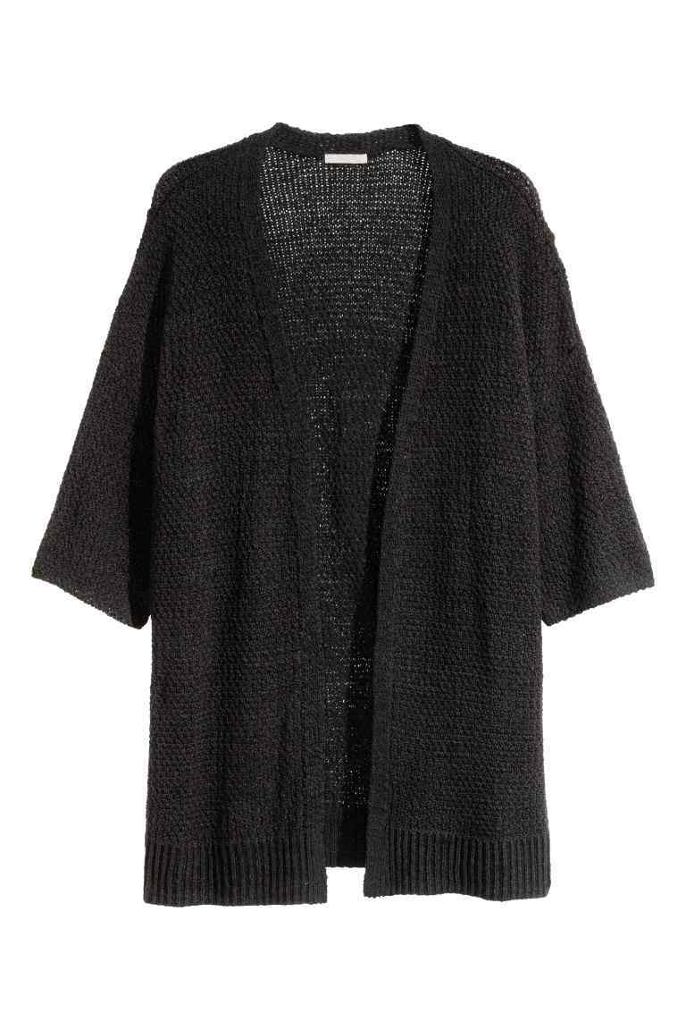 + Knitted Cardigan - sleeve style: dolman/batwing; pattern: plain; length: below the bottom; neckline: collarless open; style: open front; predominant colour: black; occasions: casual, creative work; fibres: acrylic - 100%; fit: loose; sleeve length: 3/4 length; texture group: knits/crochet; pattern type: knitted - other; wardrobe: basic; season: a/w 2016