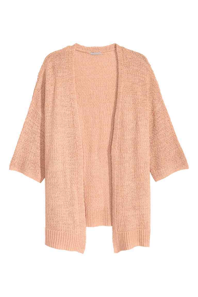 + Knitted Cardigan - sleeve style: dolman/batwing; pattern: plain; length: below the bottom; neckline: collarless open; style: open front; predominant colour: pink; occasions: casual, creative work; fibres: acrylic - 100%; fit: loose; sleeve length: 3/4 length; texture group: knits/crochet; pattern type: knitted - fine stitch; season: a/w 2016