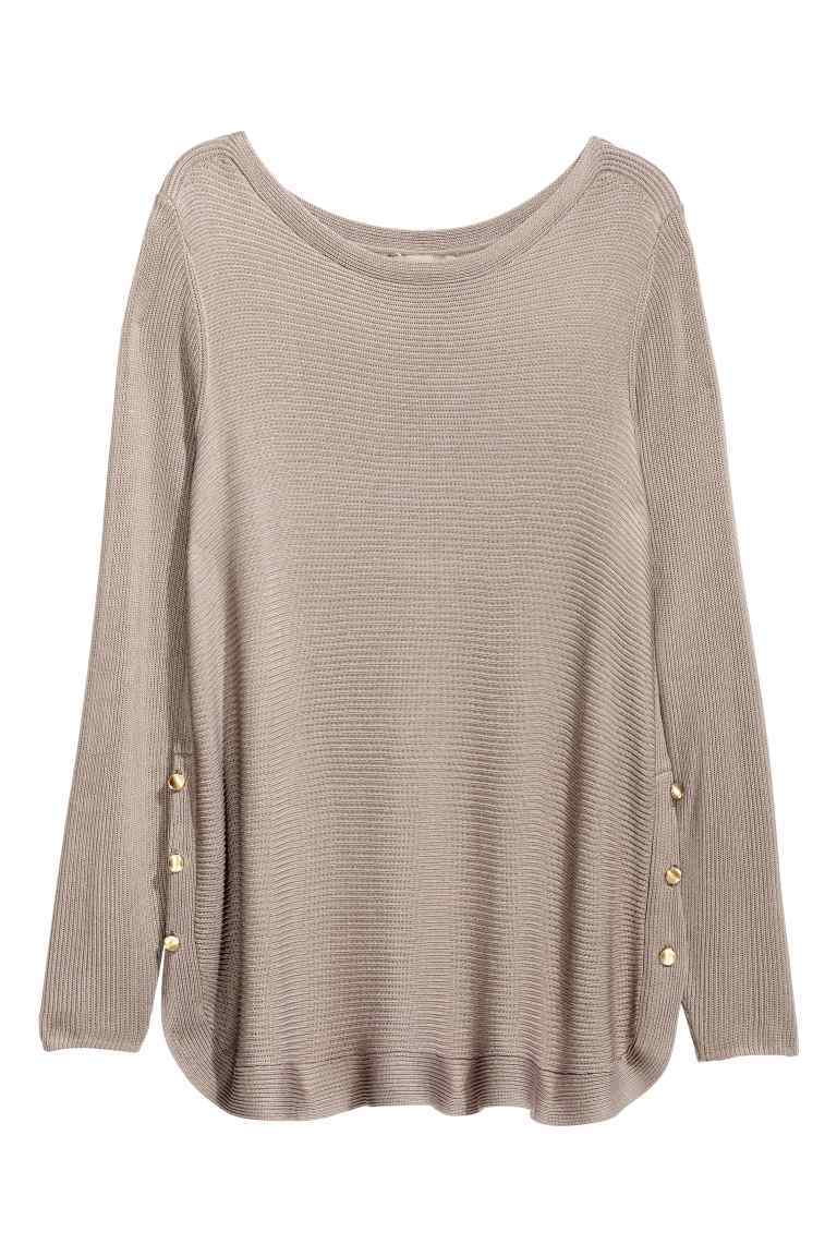 + Jumper With Metal Buttons - neckline: round neck; pattern: plain; style: standard; predominant colour: taupe; occasions: casual, creative work; length: standard; fibres: cotton - mix; fit: loose; sleeve length: long sleeve; sleeve style: standard; texture group: knits/crochet; pattern type: knitted - fine stitch; wardrobe: basic; season: a/w 2016
