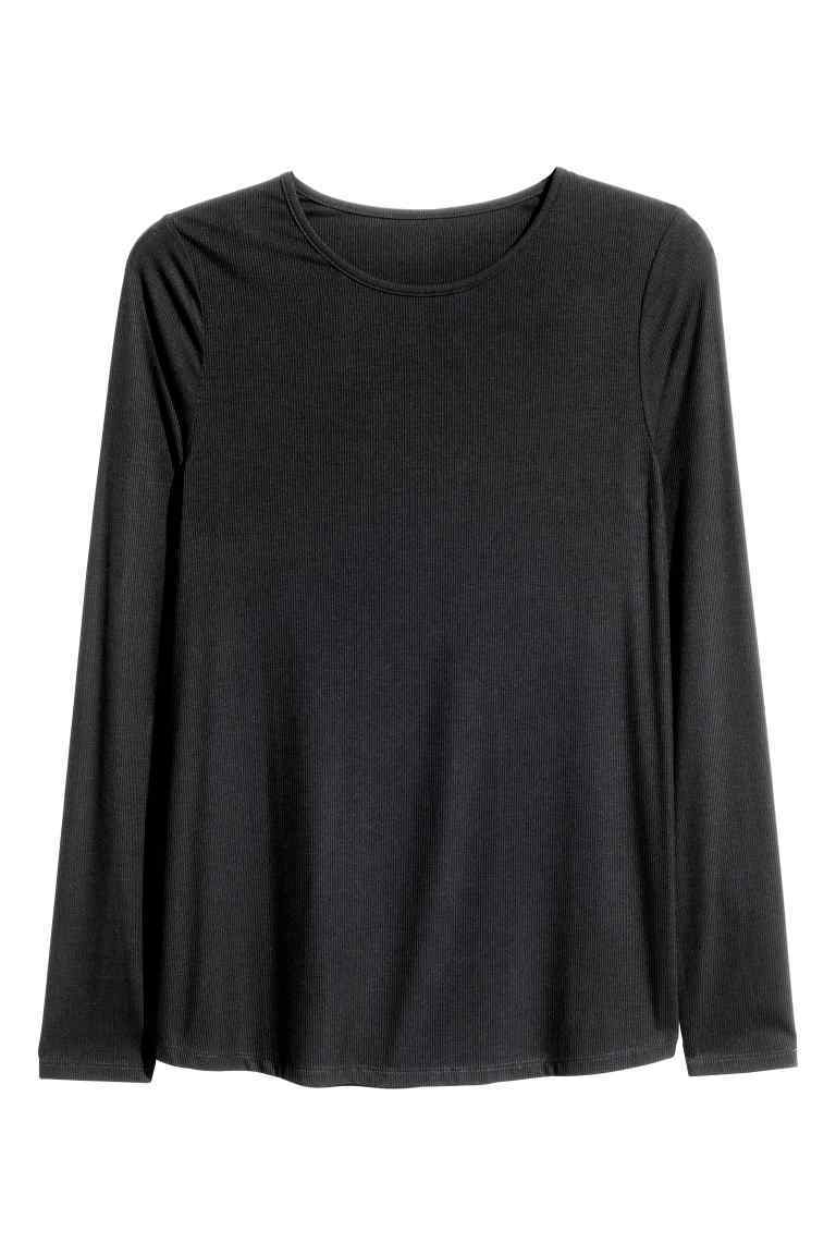 + Long Sleeved Top - pattern: plain; predominant colour: black; occasions: casual; length: standard; style: top; fibres: viscose/rayon - stretch; fit: body skimming; neckline: crew; sleeve length: long sleeve; sleeve style: standard; pattern type: fabric; texture group: jersey - stretchy/drapey; wardrobe: basic; season: a/w 2016
