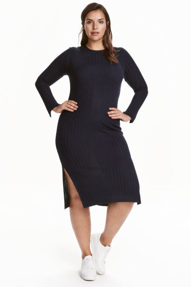 + Fine Knit Dress - style: jumper dress; length: below the knee; pattern: plain; hip detail: draws attention to hips; predominant colour: navy; occasions: casual, creative work; fit: body skimming; fibres: polyester/polyamide - mix; neckline: crew; sleeve length: long sleeve; sleeve style: standard; texture group: knits/crochet; pattern type: knitted - fine stitch; wardrobe: basic; season: a/w 2016