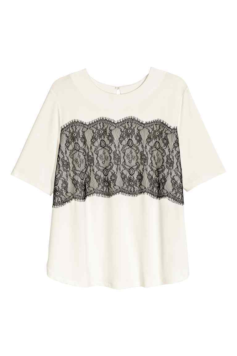 + Top With Lace - style: t-shirt; predominant colour: ivory/cream; secondary colour: black; occasions: casual, creative work; length: standard; fibres: polyester/polyamide - 100%; fit: straight cut; neckline: crew; sleeve length: short sleeve; sleeve style: standard; texture group: crepes; pattern type: fabric; pattern size: standard; pattern: patterned/print; embellishment: lace; season: a/w 2016; wardrobe: highlight