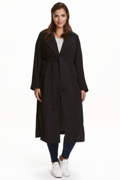 + Trenchcoat - pattern: plain; style: trench coat; collar: standard lapel/rever collar; length: calf length; predominant colour: black; occasions: work, creative work; fit: tailored/fitted; fibres: polyester/polyamide - 100%; waist detail: belted waist/tie at waist/drawstring; sleeve length: long sleeve; sleeve style: standard; texture group: crepes; collar break: medium; pattern type: fabric; wardrobe: investment; season: a/w 2016