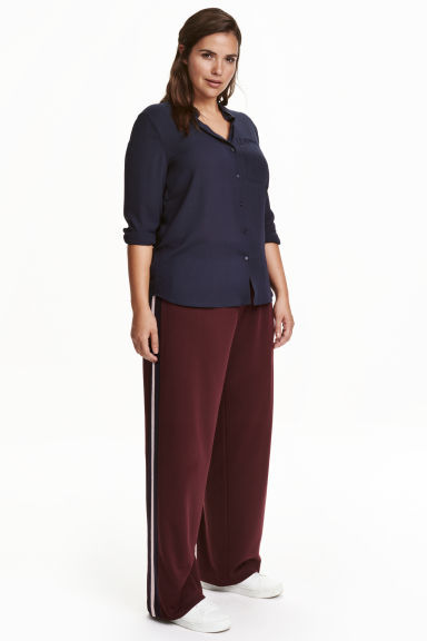 + Wide Trousers - length: standard; pattern: plain; style: palazzo; waist: mid/regular rise; predominant colour: burgundy; occasions: evening; fibres: polyester/polyamide - 100%; texture group: crepes; fit: wide leg; pattern type: fabric; season: a/w 2016; wardrobe: event