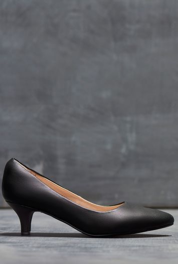 Tall Lts Poppy Leather Court At - predominant colour: black; occasions: work; material: leather; heel height: mid; heel: kitten; toe: pointed toe; style: courts; finish: plain; pattern: plain; wardrobe: investment; season: a/w 2016