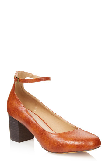 Tall Lts Edie Ankle Strap Heel At - predominant colour: tan; occasions: casual, work; material: leather; heel height: mid; ankle detail: ankle strap; heel: block; toe: round toe; style: courts; finish: plain; pattern: plain; season: a/w 2016; wardrobe: highlight