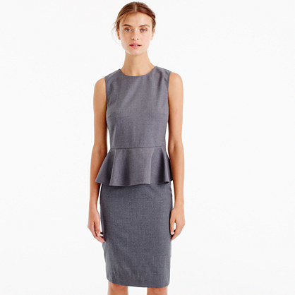 Peplum Top In Super 120s Wool - style: shift; fit: tailored/fitted; pattern: plain; sleeve style: sleeveless; waist detail: peplum waist detail; predominant colour: mid grey; occasions: work; length: just above the knee; fibres: wool - mix; neckline: crew; sleeve length: sleeveless; pattern type: fabric; texture group: woven light midweight; wardrobe: investment; season: a/w 2016