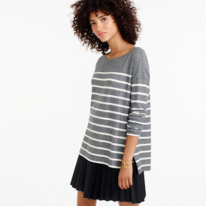 Deck Striped T Shirt - neckline: round neck; pattern: horizontal stripes; length: below the bottom; style: t-shirt; secondary colour: ivory/cream; predominant colour: mid grey; occasions: casual, creative work; fibres: cotton - 100%; fit: loose; sleeve length: long sleeve; sleeve style: standard; pattern type: fabric; texture group: jersey - stretchy/drapey; wardrobe: basic; season: a/w 2016