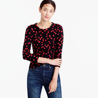 Tippi Sweater In Cherry Print - style: standard; secondary colour: true red; predominant colour: black; occasions: casual; length: standard; fibres: wool - 100%; fit: standard fit; neckline: crew; sleeve length: long sleeve; sleeve style: standard; texture group: knits/crochet; pattern type: knitted - fine stitch; pattern: patterned/print; multicoloured: multicoloured; season: a/w 2016; wardrobe: highlight