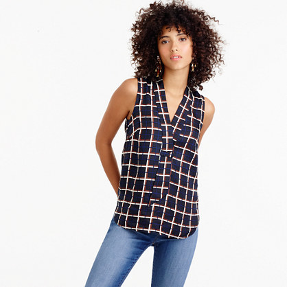 Sleeveless Silk Twill Top In Windowpane Print - neckline: v-neck; sleeve style: sleeveless; pattern: checked/gingham; style: blouse; secondary colour: white; predominant colour: navy; occasions: casual, creative work; length: standard; fibres: silk - 100%; fit: straight cut; sleeve length: sleeveless; pattern type: fabric; pattern size: standard; texture group: woven light midweight; season: a/w 2016; wardrobe: highlight