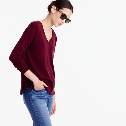 V Neck Swing Sweater - neckline: v-neck; pattern: plain; style: standard; predominant colour: burgundy; occasions: casual; length: standard; fibres: wool - mix; fit: standard fit; sleeve length: long sleeve; sleeve style: standard; texture group: knits/crochet; pattern type: knitted - other; season: a/w 2016; wardrobe: highlight