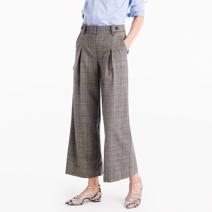 Pleated Cropped Wide Leg Pant In Glen Plaid - pattern: checked/gingham; waist: mid/regular rise; predominant colour: taupe; length: ankle length; fibres: wool - mix; hip detail: front pleats at hip level; waist detail: narrow waistband; fit: wide leg; pattern type: fabric; texture group: woven light midweight; style: standard; occasions: creative work; pattern size: standard (bottom); season: a/w 2016