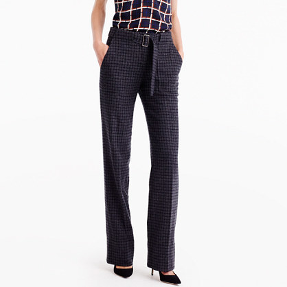 Collection Belted Pant In Checkered Italian Wool - length: standard; pattern: checked/gingham; waist detail: belted waist/tie at waist/drawstring; waist: mid/regular rise; predominant colour: navy; secondary colour: black; occasions: work; fibres: wool - 100%; fit: straight leg; pattern type: fabric; texture group: tweed - light/midweight; style: standard; pattern size: standard (bottom); season: a/w 2016; wardrobe: highlight