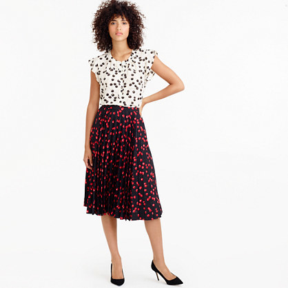 Tall Pleated Midi Skirt In Cherry Print - length: below the knee; fit: loose/voluminous; style: pleated; waist: high rise; secondary colour: true red; predominant colour: navy; fibres: polyester/polyamide - 100%; hip detail: structured pleats at hip; pattern type: fabric; pattern: patterned/print; texture group: woven light midweight; occasions: creative work; season: a/w 2016