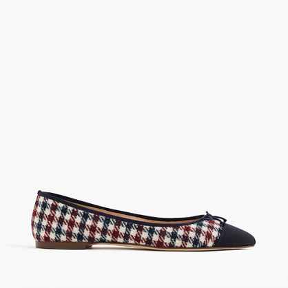 Gemma Cap Toe Flats In Tweed - secondary colour: ivory/cream; predominant colour: navy; occasions: casual, work, creative work; material: fabric; heel height: flat; toe: pointed toe; style: ballerinas / pumps; finish: plain; pattern: checked/gingham; embellishment: bow; multicoloured: multicoloured; season: a/w 2016; wardrobe: highlight