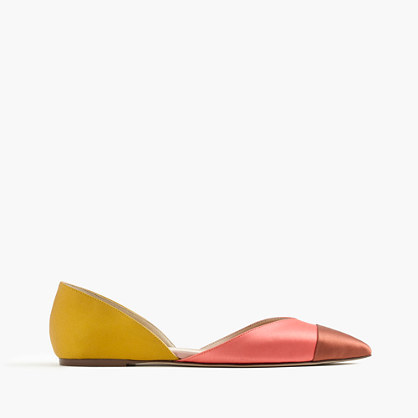 Sadie Flats In Colorblock Satin - predominant colour: pink; secondary colour: yellow; occasions: casual, creative work; material: faux shearling; heel height: flat; toe: pointed toe; style: ballerinas / pumps; finish: plain; pattern: colourblock; season: a/w 2016; wardrobe: highlight