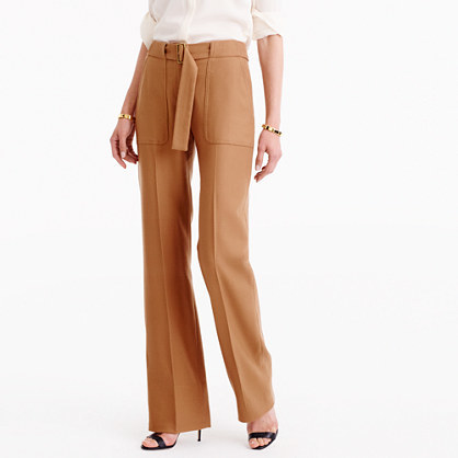 Collection Belted Pant In Italian Wool - length: standard; pattern: plain; waist detail: belted waist/tie at waist/drawstring; waist: mid/regular rise; predominant colour: camel; fibres: wool - 100%; fit: straight leg; pattern type: fabric; texture group: woven bulky/heavy; style: standard; occasions: creative work; season: a/w 2016