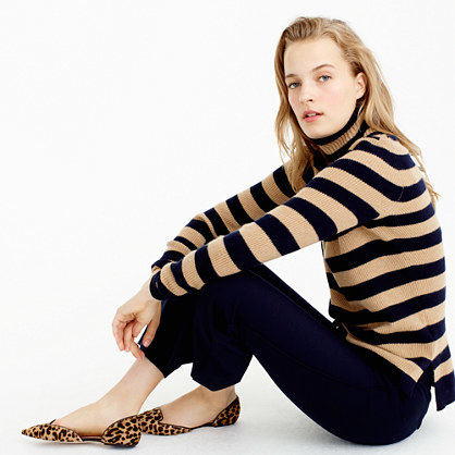 Italian Cashmere Ribbed Turtleneck In Stripe - pattern: horizontal stripes; neckline: high neck; style: standard; predominant colour: camel; secondary colour: black; occasions: casual; length: standard; fit: slim fit; fibres: cashmere - 100%; sleeve length: long sleeve; sleeve style: standard; texture group: knits/crochet; pattern type: knitted - fine stitch; multicoloured: multicoloured; season: a/w 2016