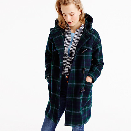 Hooded Toggle Coat In Plaid - pattern: checked/gingham; collar: funnel; fit: loose; style: duffle coat; length: mid thigh; predominant colour: navy; secondary colour: emerald green; occasions: casual, creative work; fibres: wool - mix; sleeve length: long sleeve; sleeve style: standard; collar break: high; pattern type: fabric; texture group: woven bulky/heavy; season: a/w 2016; wardrobe: highlight