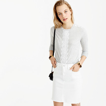 Long Sleeve T Shirt With Lace - pattern: plain; style: t-shirt; secondary colour: white; predominant colour: light grey; occasions: casual; length: standard; fibres: cotton - 100%; fit: body skimming; neckline: crew; sleeve length: long sleeve; sleeve style: standard; texture group: lace; pattern type: fabric; embellishment: lace; multicoloured: multicoloured; season: a/w 2016; wardrobe: highlight