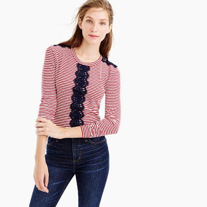Long Sleeve Striped T Shirt With Lace - pattern: horizontal stripes; style: t-shirt; predominant colour: true red; secondary colour: navy; occasions: casual, creative work; length: standard; fibres: cotton - stretch; fit: body skimming; neckline: crew; sleeve length: long sleeve; sleeve style: standard; texture group: jersey - clingy; pattern type: fabric; pattern size: standard; embellishment: lace; season: a/w 2016; wardrobe: highlight; embellishment location: bust