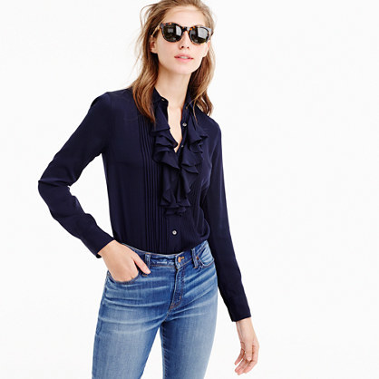 Tuxedo Ruffle Top In Stretch Silk Georgette - neckline: shirt collar/peter pan/zip with opening; pattern: plain; style: shirt; predominant colour: navy; occasions: work, creative work; length: standard; fit: straight cut; sleeve length: long sleeve; sleeve style: standard; texture group: silky - light; bust detail: bulky details at bust; pattern type: fabric; fibres: silk - stretch; season: a/w 2016; wardrobe: highlight