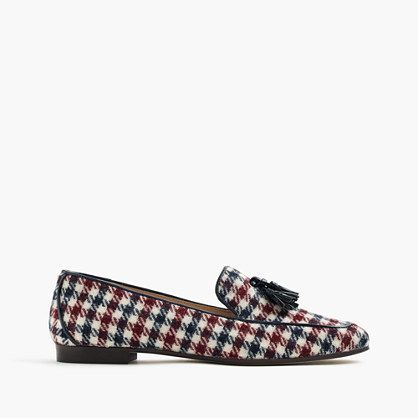 Charlie Tassel Loafers In Tweed - predominant colour: ivory/cream; secondary colour: burgundy; occasions: casual, creative work; material: fabric; heel height: flat; embellishment: tassels; toe: round toe; style: loafers; finish: plain; pattern: checked/gingham; multicoloured: multicoloured; season: a/w 2016; wardrobe: highlight
