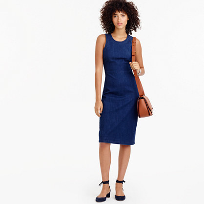 Denim Sheath Dress - style: shift; pattern: plain; sleeve style: sleeveless; predominant colour: navy; occasions: casual; length: on the knee; fit: body skimming; fibres: cotton - mix; neckline: crew; sleeve length: sleeveless; texture group: denim; pattern type: fabric; wardrobe: basic; season: a/w 2016