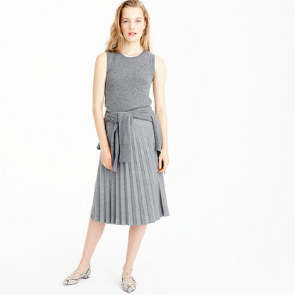 Pleated Midi Skirt In Wool - length: below the knee; pattern: plain; fit: loose/voluminous; style: pleated; waist: high rise; predominant colour: light grey; fibres: wool - mix; hip detail: adds bulk at the hips; pattern type: fabric; texture group: woven light midweight; occasions: creative work; wardrobe: basic; season: a/w 2016