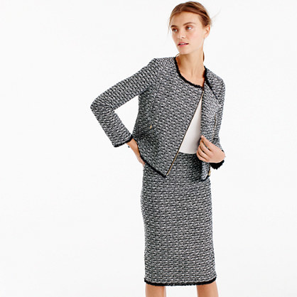 Zip Jacket In Fringy Tweed - collar: round collar/collarless; style: boxy; pattern: herringbone/tweed; secondary colour: white; predominant colour: black; occasions: work; fit: straight cut (boxy); fibres: wool - mix; sleeve length: long sleeve; sleeve style: standard; collar break: high; pattern type: fabric; pattern size: standard; texture group: tweed - light/midweight; length: cropped; wardrobe: investment; season: a/w 2016
